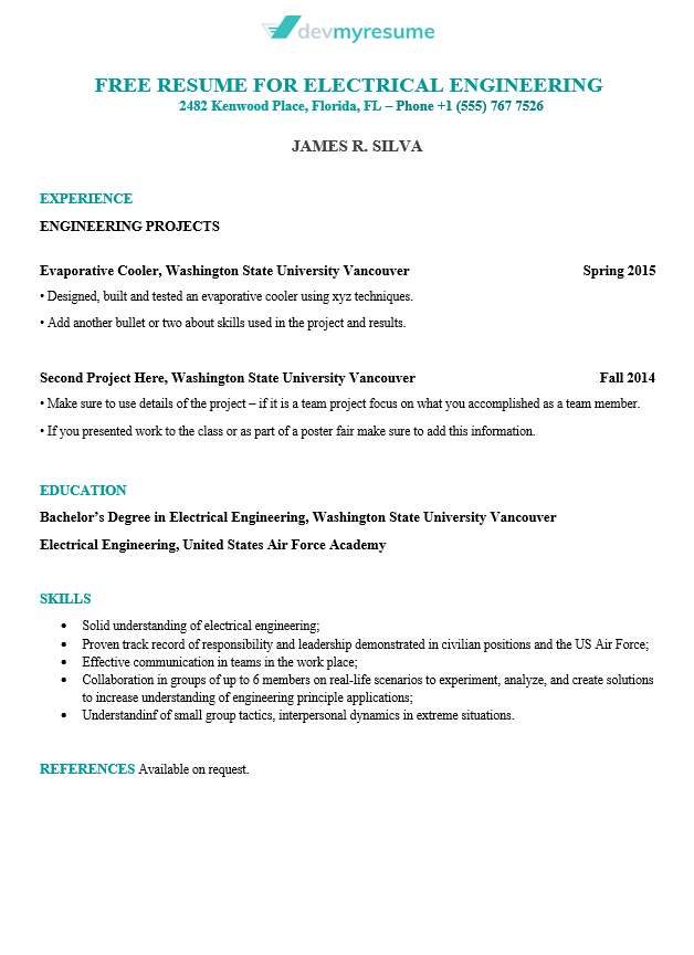 Engineering Resume Devmyresume Com