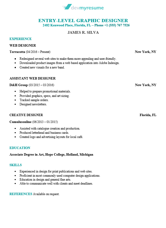 sample of graphic designer resumes