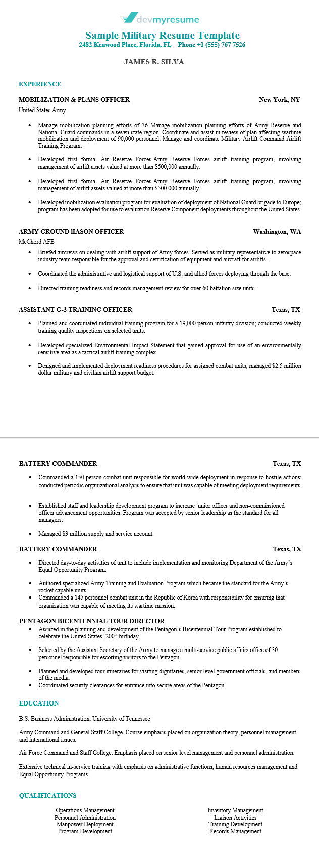 writing a military resumes