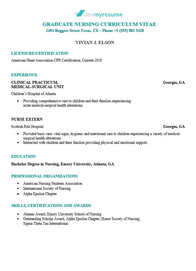 nursing resume devmyresume com