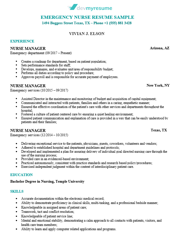 Nursing Resume Devmyresume Com