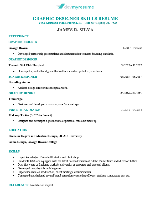 Sample Graphic Design Resume
